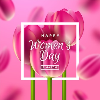 Día realista de la mujer con tulipanes.