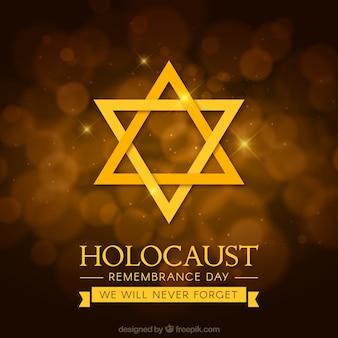 Día del recuerdo del holocausto, estrella dorada sobre un fondo marrón