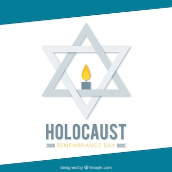 Día del recuerdo del holocausto, estrella gris con una vela