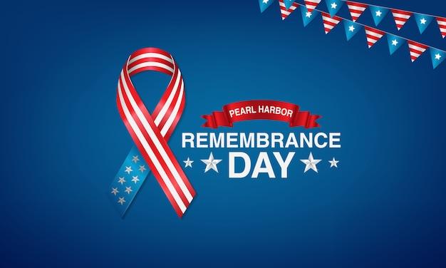 Día del recuerdo del puerto de perlas con pancartas con la estrella y corbatas americanas.