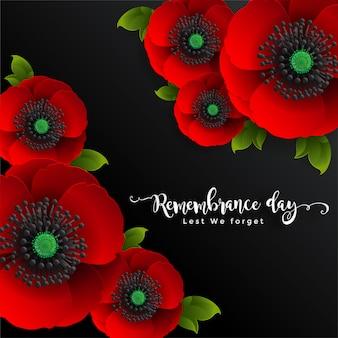 Día del recuerdo para que no lo olvidemos. flor de amapola roja realista con papel cortado estilo de arte y artesanía en el fondo.