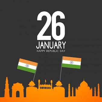 Día de la república india 26 de enero de fondo