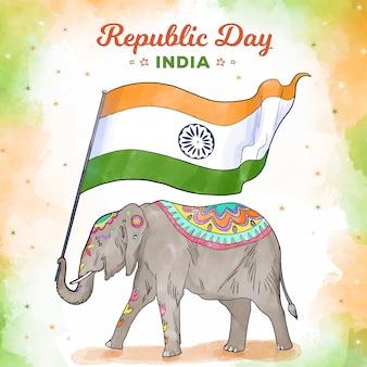 Día de la república india acuarela