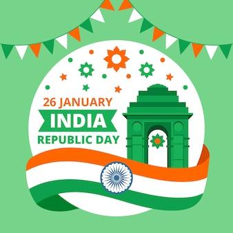 Día de la república india con bandera y guirnalda
