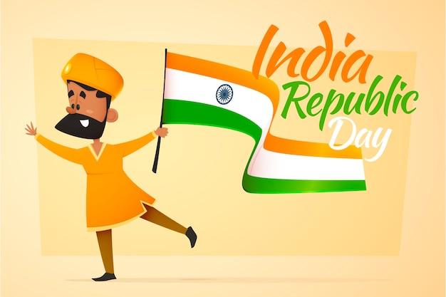 Día de la república de la india con el hombre que sostiene una bandera