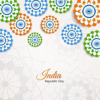 Día de la república india con tri color floral
