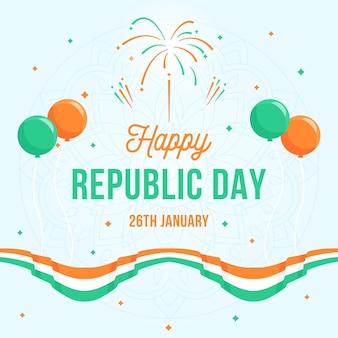 Día de la república plana con globos y bandera.