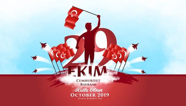 Día de la república turquía 29 de octubre de fondo ilustración