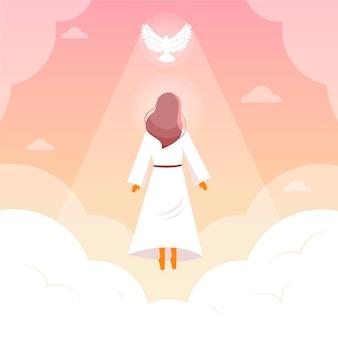 Día de resurrección religiosa con paloma