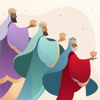 Día de reyes magos dibujado a mano