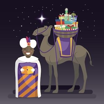 Día de los reyes magos con el rey balthazar, camello y regalos en la noche.