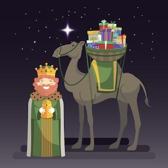 Día de los reyes magos con el rey caspar, camello y regalos por la noche.