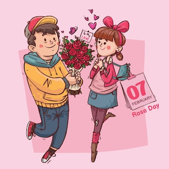 Día de la rosa super lindo amor alegre romántico san valentín pareja citas regalo dibujado a mano ilustración a todo color