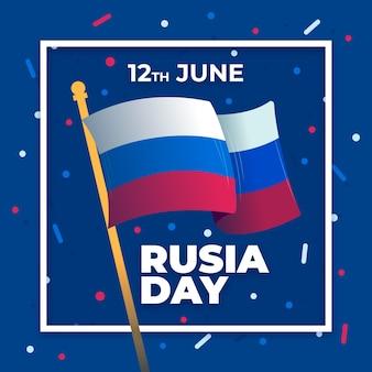 Día de rusia con bandera y confeti