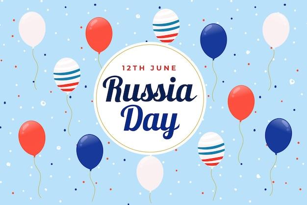 Día de rusia y globos con fondo de bandera