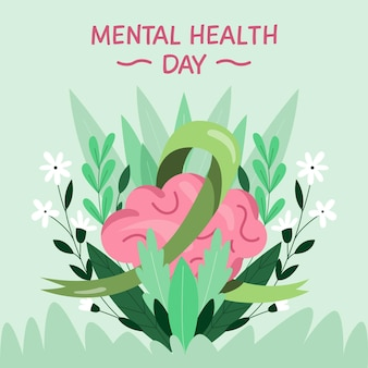 Día de la salud mental con cerebro y flores.
