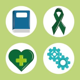 Día de la salud mental, psicología tratamiento médico libro cinta corazón engranajes icono conjunto ilustración