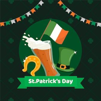 Día de san patricio con bandera y cerveza