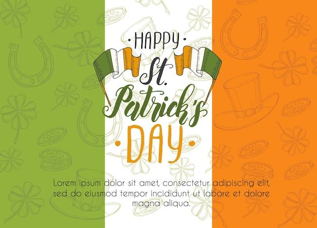 Día de san patricio en bandera irlandesa. doodle dibujado a mano