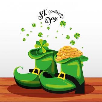Día de san patricio con botas y monedas