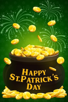 Día de san patricio celebración navideña irlandesa y fiesta, cartel. feliz saludo del día de san patricio con monedas de oro de duende en una olla de caldero y fuegos artificiales de estrellas doradas
