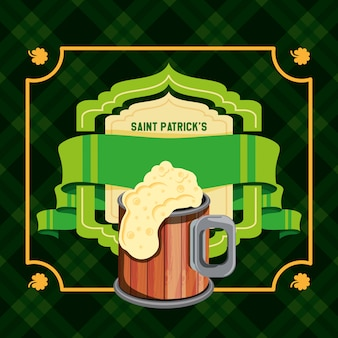 Día de san patricio con cerveza y cinta
