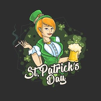 Día de san patricio a las damas les encanta la fiesta de la cerveza