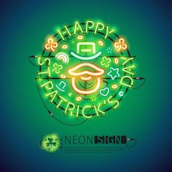 Día de san patricio irlandés muestra de neón