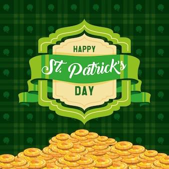 Día de san patricio con monedas y cinta