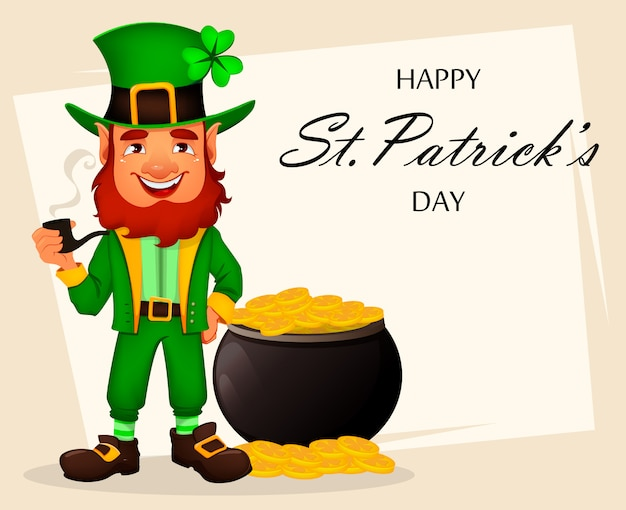 Día de san patricio. personaje de dibujos animados leprechaun