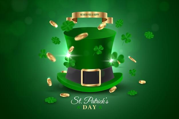 Día de san patricio sombrero de copa verde y tréboles