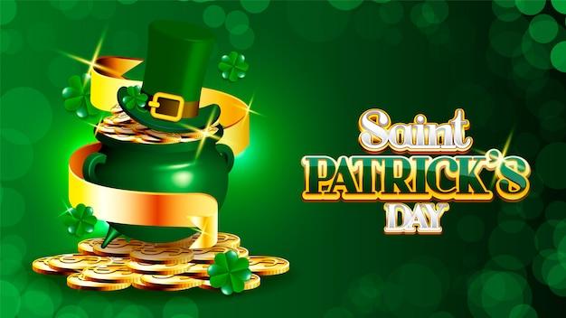 Día de san patricio con el tesoro del duende, olla llena de monedas de oro,