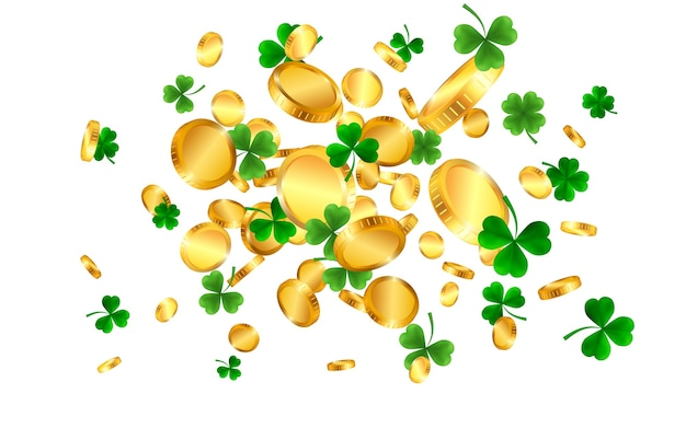 Día de san patricio con tréboles verdes de cuatro y hojas de árbol y monedas de oro. símbolos irlandeses de suerte y éxito.