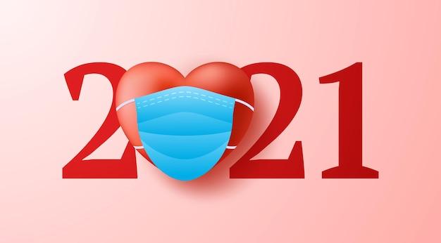 Día de san valentín 2021 corazón 3d realista con fondo de concepto de mascarilla médica