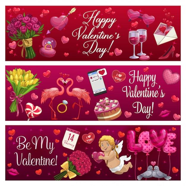 Día de san valentín amor corazones de vacaciones, regalos y anillo