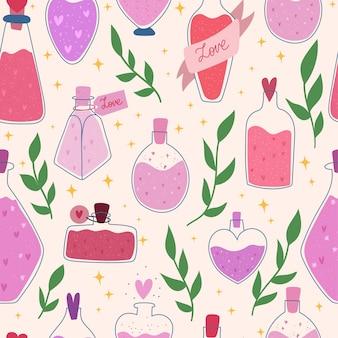 Día de san valentín amor hechizo de patrones sin fisuras. tarro de poción romántica. ilustración dibujada a mano.