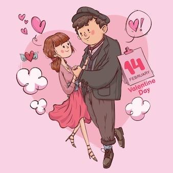 Día de san valentín amor super lindo alegre romántica pareja romántica citas regalo dibujado a mano ilustración a todo color