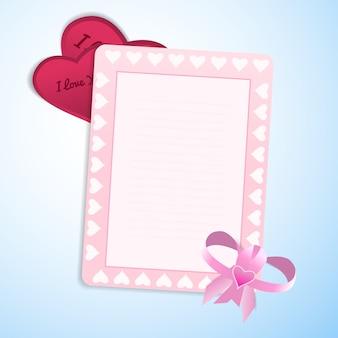Día de san valentín amor tarjeta en blanco con arco y marco lindo y san valentín