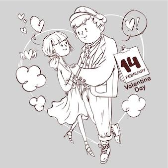 Día de san valentín arte lineal super lindo amor alegre romántico san valentín pareja citas regalo dibujado a mano ilustración de contorno