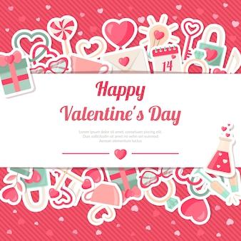 Día de san valentín banner con pegatinas de iconos planos sobre fondo rosa
