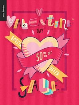 Día de san valentín banner de venta