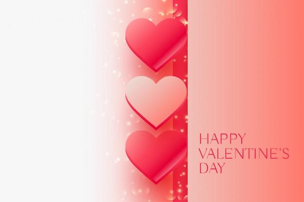 Día de san valentín brillante hermosos corazones