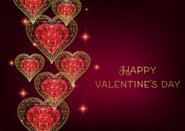 Día de san valentín con brillantes corazones poligonales dorados y rojos bajos, estrellas sobre fondo de borgoña.