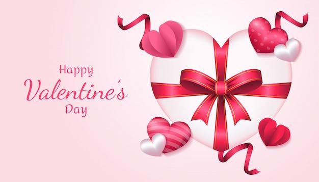 Día de san valentín con caja de regalo 3d, forma de corazón, papel amor y cinta en color rosa y blanco, aplicable para invitación, saludo, ilustración de tarjeta de celebración