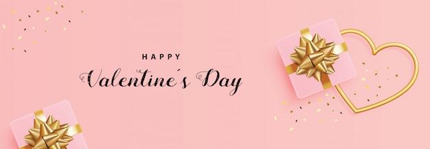 Día de san valentín, caja de regalo, marco de corazón de oro y confeti, realista 3d