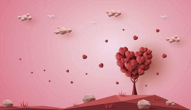 Día de san valentín, concepto de árbol de amor, low poly 3d, origami paper craft.