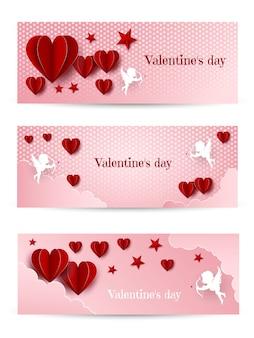 Día de san valentín. conjunto de tres pancartas con corazones rojos. antecedentes
