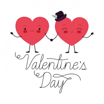 Día de san valentín con corazón amor kawaii carácter