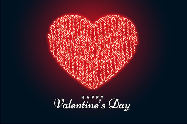 Día de san valentín corazón hecho con luces tarjeta de felicitación