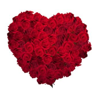 Día de san valentín corazón hecho de rosas rojas.